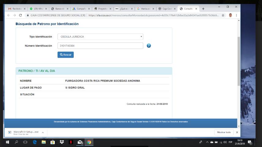 Certificación Caja Costarricense del Seguro Social: Patrono al Día Fumigadora Costa Rica Premium
