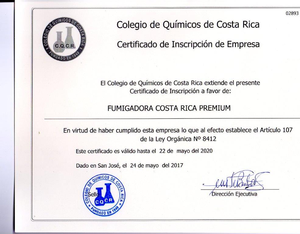 Inscripción Regente Químico Colegio Profesional Fumigadora Costa Rica Premium