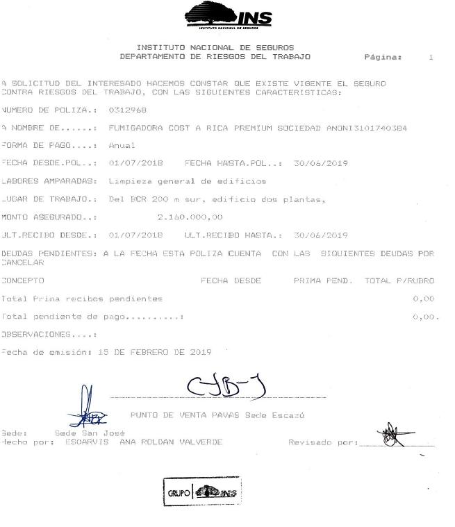 Poliza INS: Fumigadora Costa Rica Premium