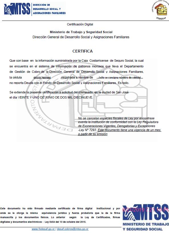 Certificacion FODESAF Fumigadora Costa Rica Premium