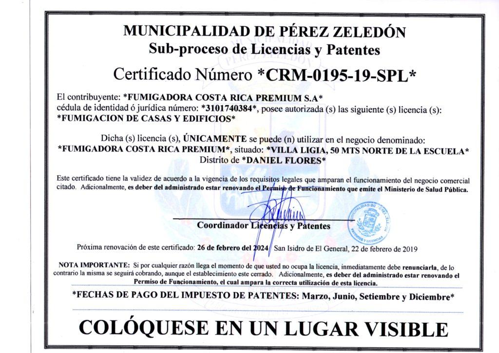 Patente Municipal Fumigadora Costa Rica Premium