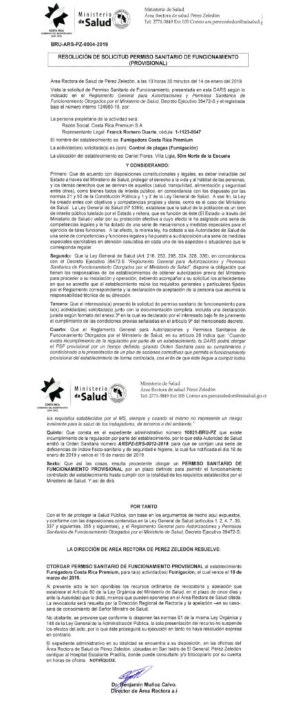 permisio ministerio de salud 2019