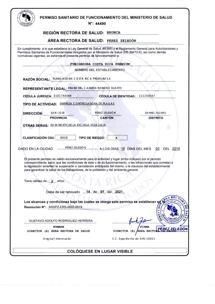 Permiso Sanitario de Funcionamiento: Fumigadora Costa Rica Premium